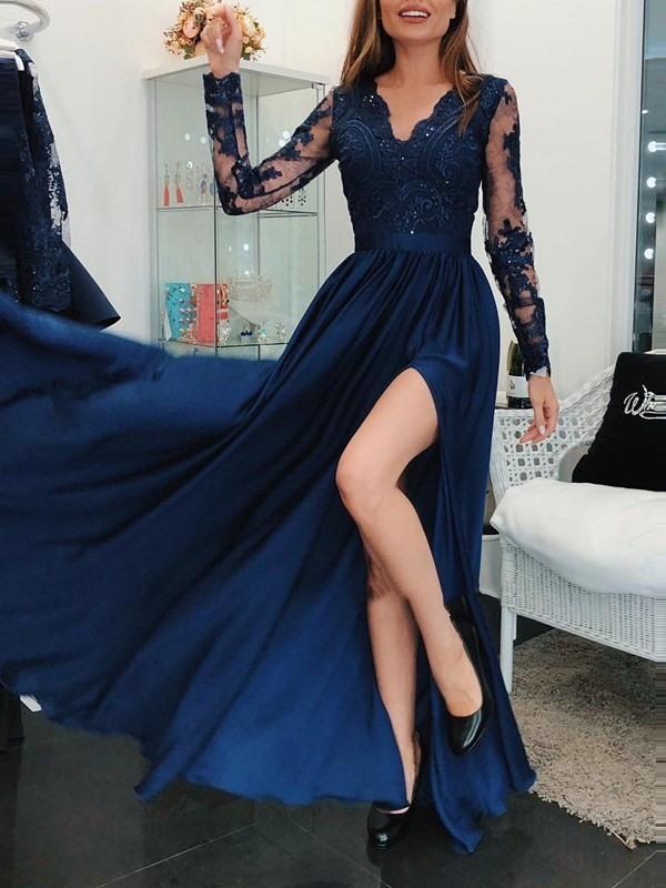 Deep Blue Prom Gown Long Sleeve Side Split A-line Evening Dress robe de soiree Custom Made