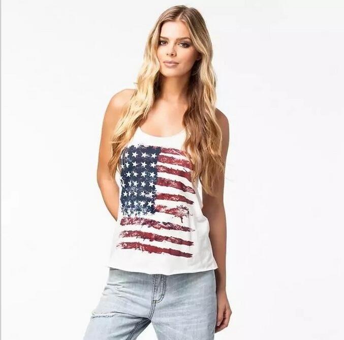 Atacado-NOVO Verão Sexy Mulheres Sem Mangas Tops Americano EUA Bandeira Imprimir Listras arco-nó Regata para Mulher Blusa Colete Camisa O pescoço