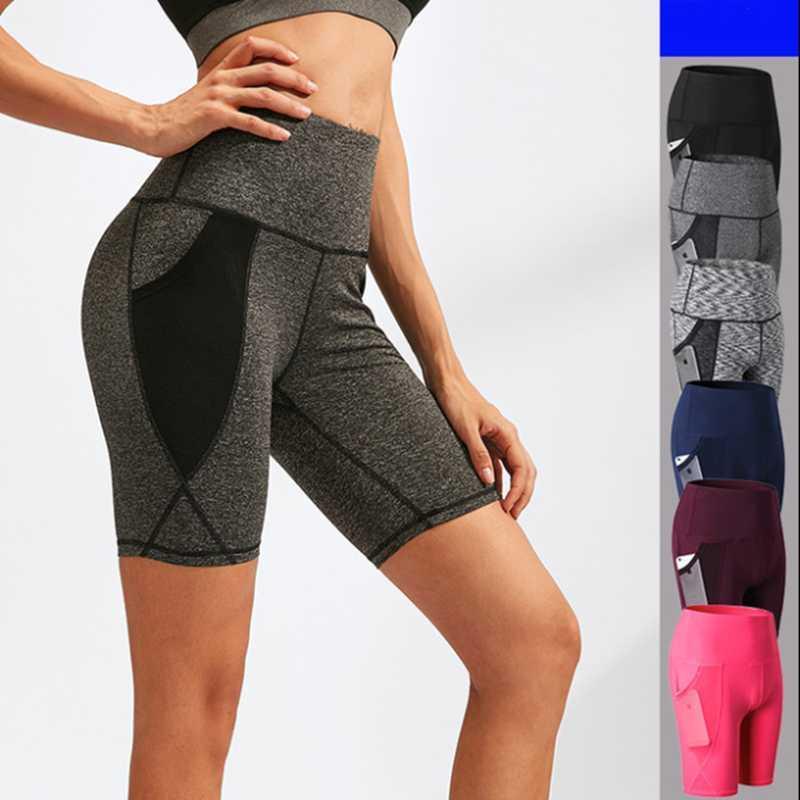 sports des femmes de compensation short de yoga de haute taille poche shorts serrés trainning fintess DRY rapide