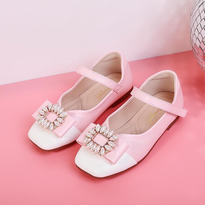 decorazione della perla molla delle ragazze dei sandali testa quadrata principessa estate delle ragazze comodi luce morbida antiscivolo scarpe casuali