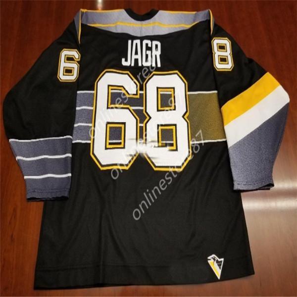Mens Vintage Pittsburgh Penguins Hockey 68 Jaromir Jagr Jersey nera Personalizza qualsiasi ricamo nome personalità maglie S-XXXL