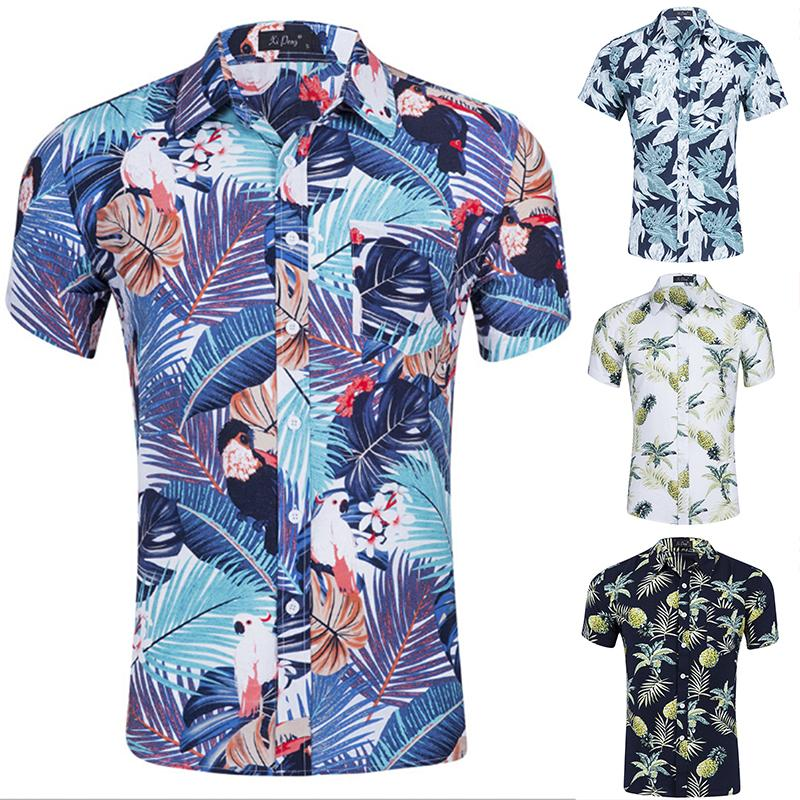 Men/'s Summer Floral Casual Shirts Short Sleeve Slim Fit Pineapple Printed Shirts