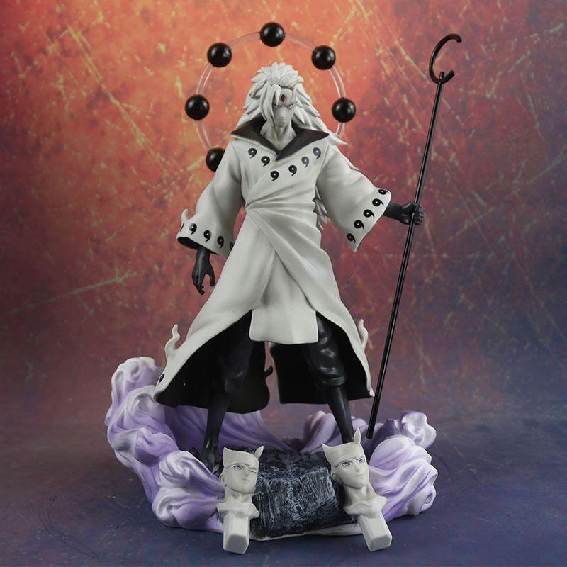 Anime Naruto 3 Köpfe Uchiha Madara Action Figure Rikudo Sennin PVC Modell Spielzeug Statue Geburtstagsgeschenkdekoration Sammlungen 1125g MX200319
