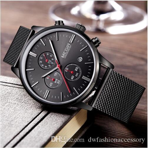 Fashion Luxury MEGIR Watches Men Stainless Steel Mesh Band Quartz Sport Watch Chronograph Men's Wrist Watches Clock Men