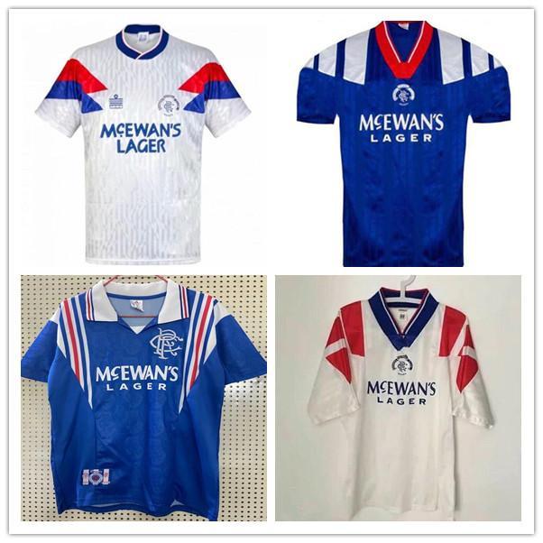 90 92 94 Glasgow Rangers Retro soccer jerseys 94 96 97 home blue #8 GASCOIGNE #11 LAUDRUP #9 MCCOIST Soccer Shirts ALBERTZ football Uniforms