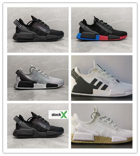 Designer Shoe Nmd R1 V2 Running Shoes Core Black Og Gold Metallic