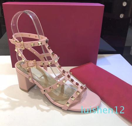 Stud sandalias mujeres cubren la T-correa de la sandalia de verano tacones altos de Clava los zapatos atractivos del partido zapatos de las señoras 6.5cm 9.5cm 15color l12