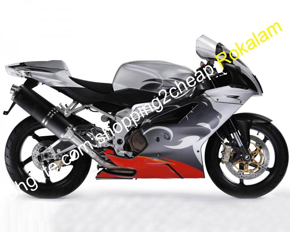 Lionhead carénages pour Aprilia RSV 1000 RSV1000 Mille 2003 2004 2005 2006 RSV1000 Gris Rouge ABS carénages Kit