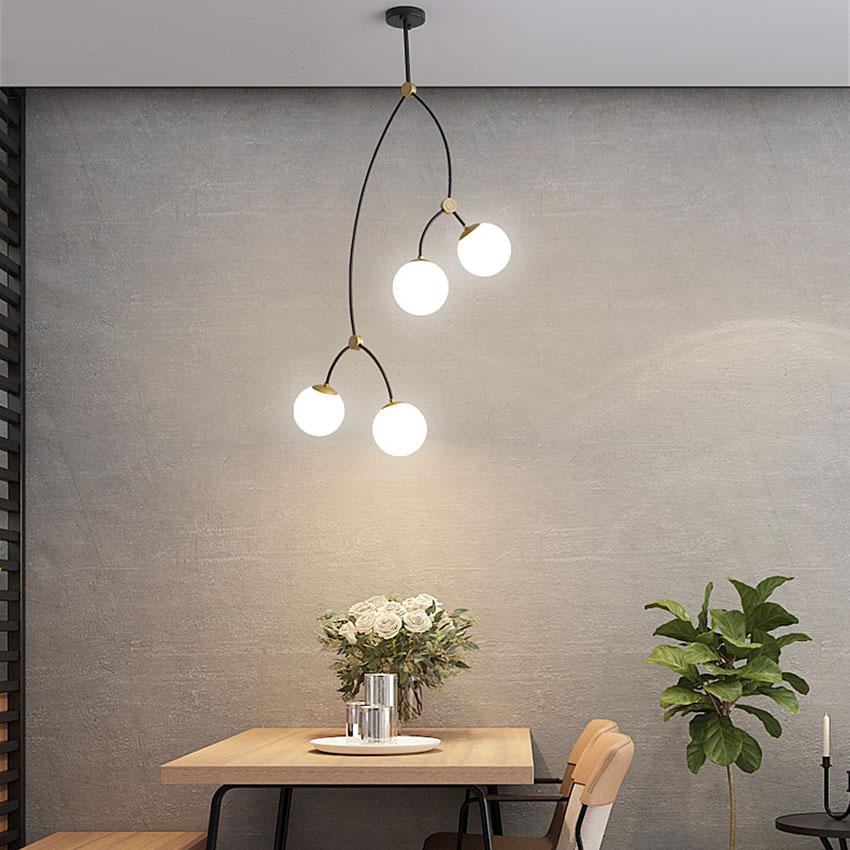 방 3-8 식사 현대 샹들리에 흰색 투명 유리 그늘 창조적 인 침실 부엌 거실 서스펜션 조명 조명