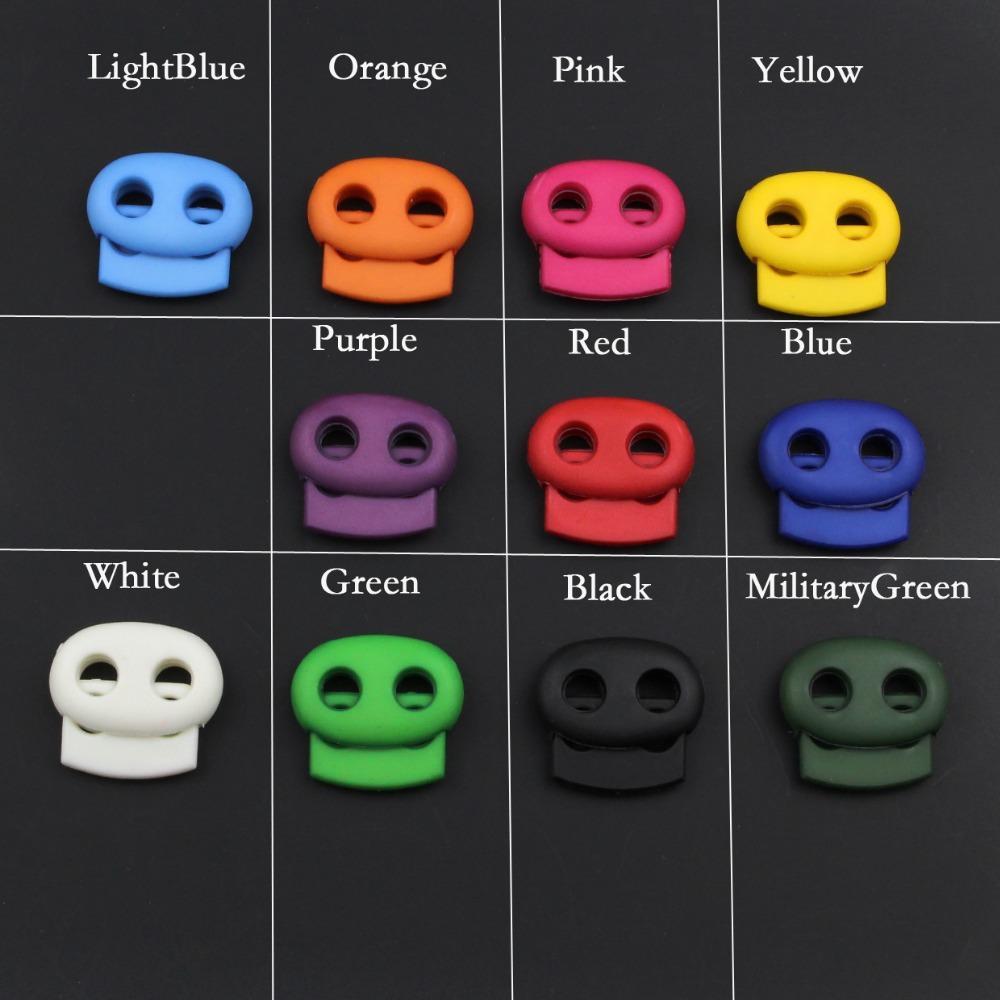 200pcs / Pacote Mixed 5 milímetros colorido Buraco Plastic Stopper Cord Bloqueio feijão Alternar Clipe Vestuário cadarço Sportswear Acessó
