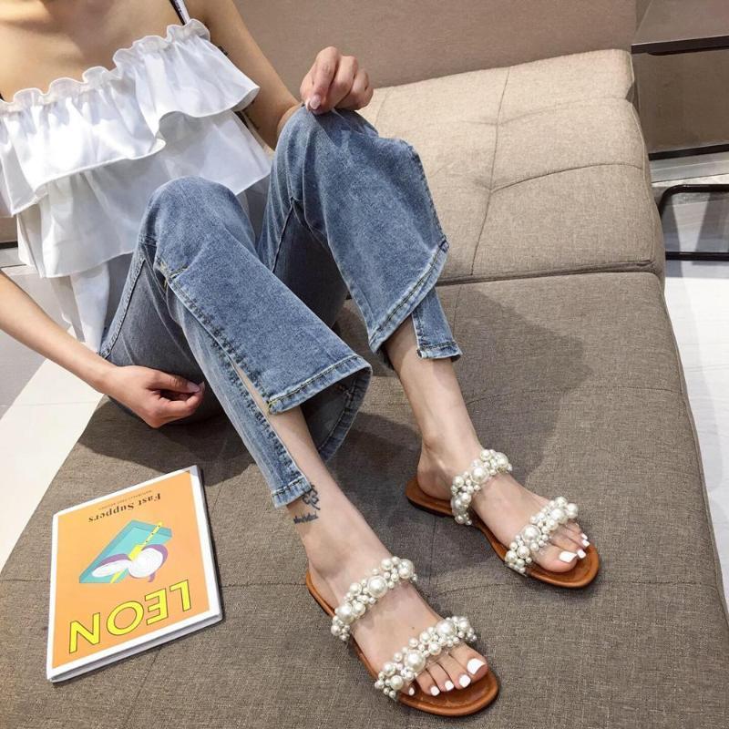 Женщины Тапочки Открытый Toe Pearl Тапочки Narrow Band Квартиры обувь Летние сандалии Слайды Brown Flats Повседневный Размер 35-40