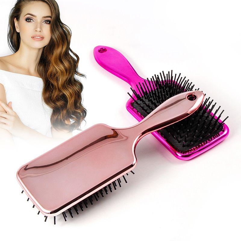 1pc Magic Anti-static Hair Brush Handle Plastic Electroplate Comb Massage Comb Detangling Hair Brush Salon Hair Styling Tools