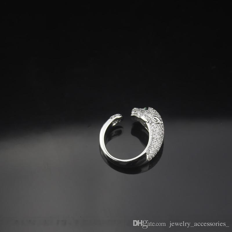 925 silberner Diamant-geöffneter Ring Männer Tier Leopard Ringe Unisex Hochzeit Ringe Geschenk Schmuck