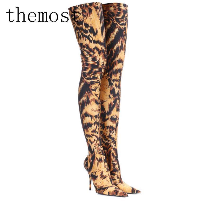 Theost 2018 Европа и последние леопардовые эластичные сапоги бедра дамы сексуальная мода размер 33-48 оптовых продаж