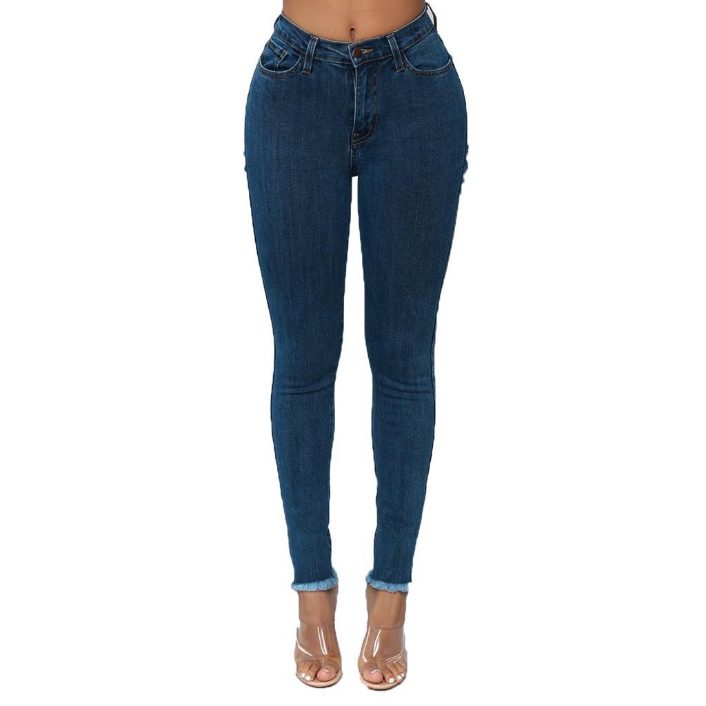 2018 الخريف الشتاء النساء ماركة نحيل الدينيم سروال رصاص عالية الخصر سليم زر جيوب السراويل تمتد الجينز النساء الجينز # 35