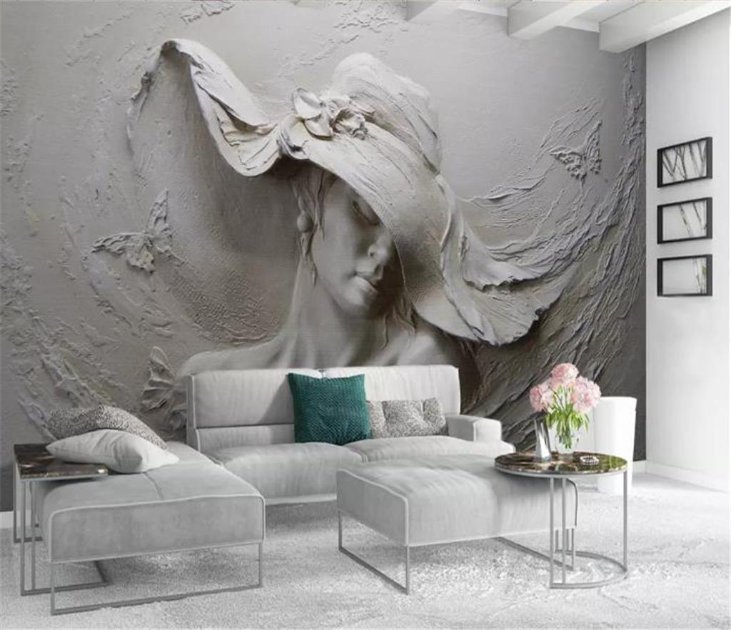 Décoration Murale En Relief 3d wallpaper 3d three dimensional relief with hat beauty living room  bedroom background wall decoration mural wallpaper high quality wallpapers  free