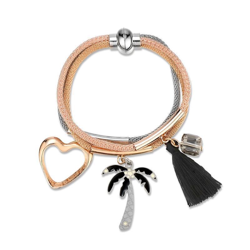 Itens Womens pulseiras pingente pequeno Pérola Multi-Layer Stacked Tassel botão snap jóias aço inoxidável joyeria mujer