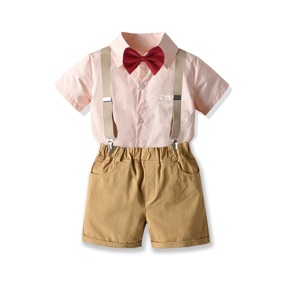Toddler Baby Boy Gentleman Suit Rose Bow Tie T-Shirt Shorts Pants Outfit Set US