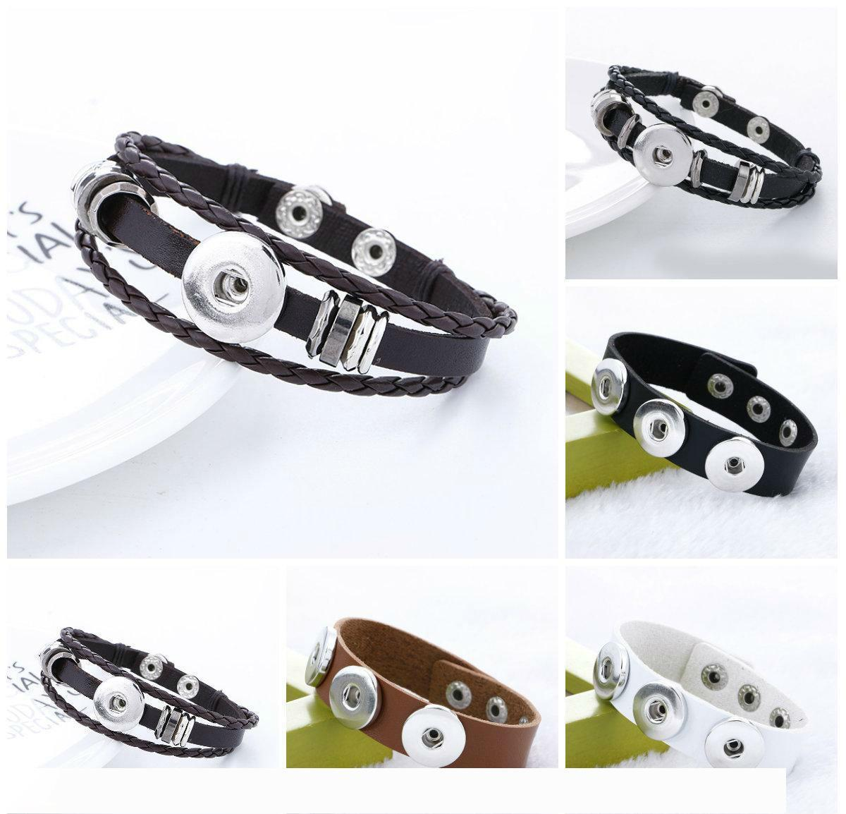 Snap Jewelry Designer Stretch bracelet Wholesale Snap Buttons Pretty Cheap Charm Bracelets Silver Ginger Infinity Mens Leather Bracelets