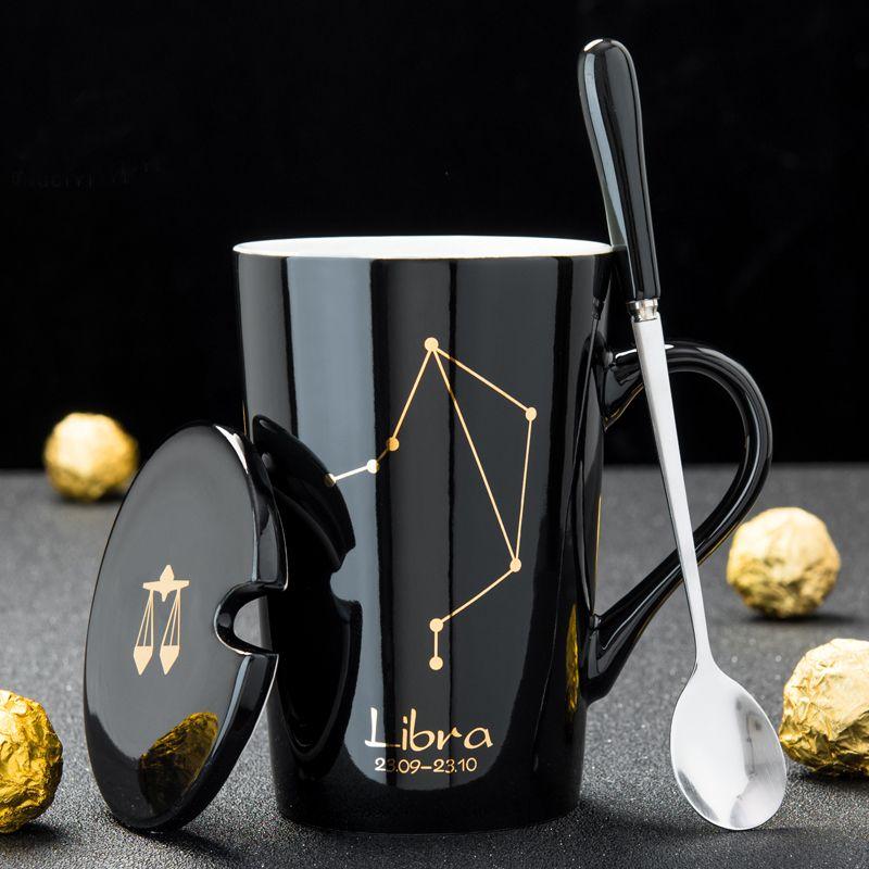 12 별자리 세라믹 커피 밀크 낯 짝 숟가락 뚜껑 블랙과 골드 도자기 조디악 세라믹 컵 420ML 홈 워터 Drinkware