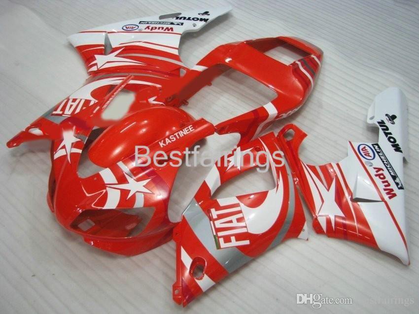ZXMOTOR Free custom fairing kit for YAMAHA R1 1998 1999 white red fairings YZF R1 98 99 GF25