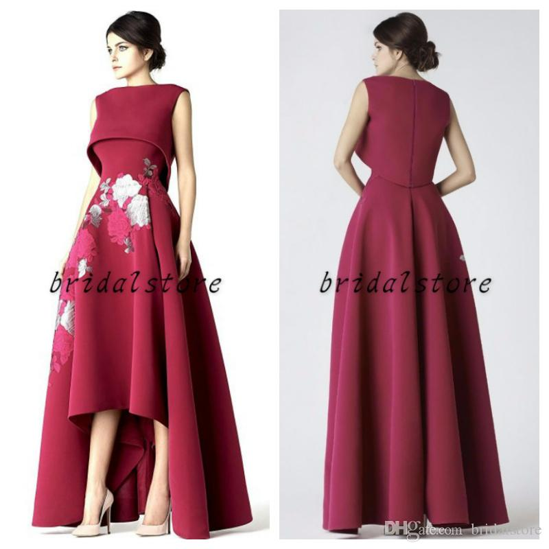 Designer Red Hi Low Prom Dresses High Neck Embroidery Satin Formal Evening Gowns Empire Waist Front Short Back Long Party Special Occasion