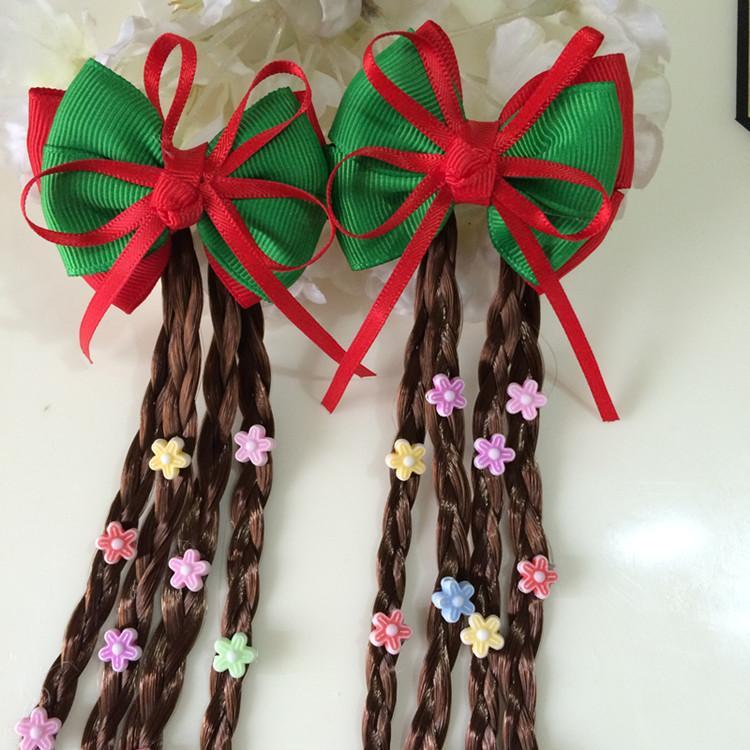 estilo chinês acessórios de cabelo menina hairpins das crianças cocar Tang clipe terno bebê pequena trança peruca grande arco de acessórios de hairpin