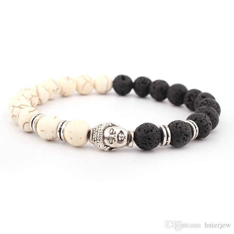 Jolis bracelts de pierre de lave 8mm importés de bracelets chics turquoise blanc blanc noir Bouge de pierre volcanique Bouddha