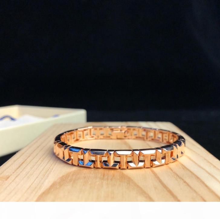 Famoso T VERDADEIROS jóias presentes bracelete de forma geométrica carta partido mulher banquete pulseira cadeia acessórios 3 cores