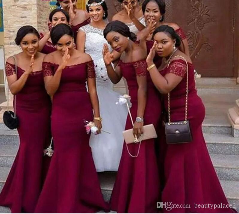 Best Sale Mermaid Off the Short Sleeve Grape Bridesmaid Dresses Sweep Train Chiffon Lace Top Long Wedding Guest Dresses
