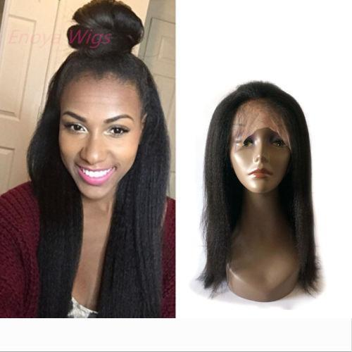Top Italian Yaki 360 Lace Frontal Wig virgin Human Hair 360 Lace Wig Pre Plucked with baby hair bleached knots kinky straight 14inch