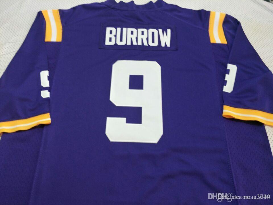 CUSTOM Jugend LSU Tigers Joe Burrow # 9 Jugend echte Voll Stickerei College Football Jersey-Größe S-4XL oder benutzerdefinierte beliebige Namen oder Nummer Jersey