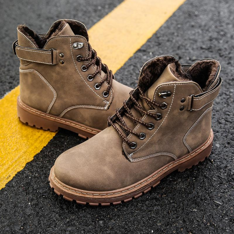 Kış Süper Sıcak Rahat Kar Botları Erkekler Sneakers Çizmeler Yüksek top kaymaz Moda Erkek Ayakkabı Zapatillas De Deporte Erkekler Çizmeler