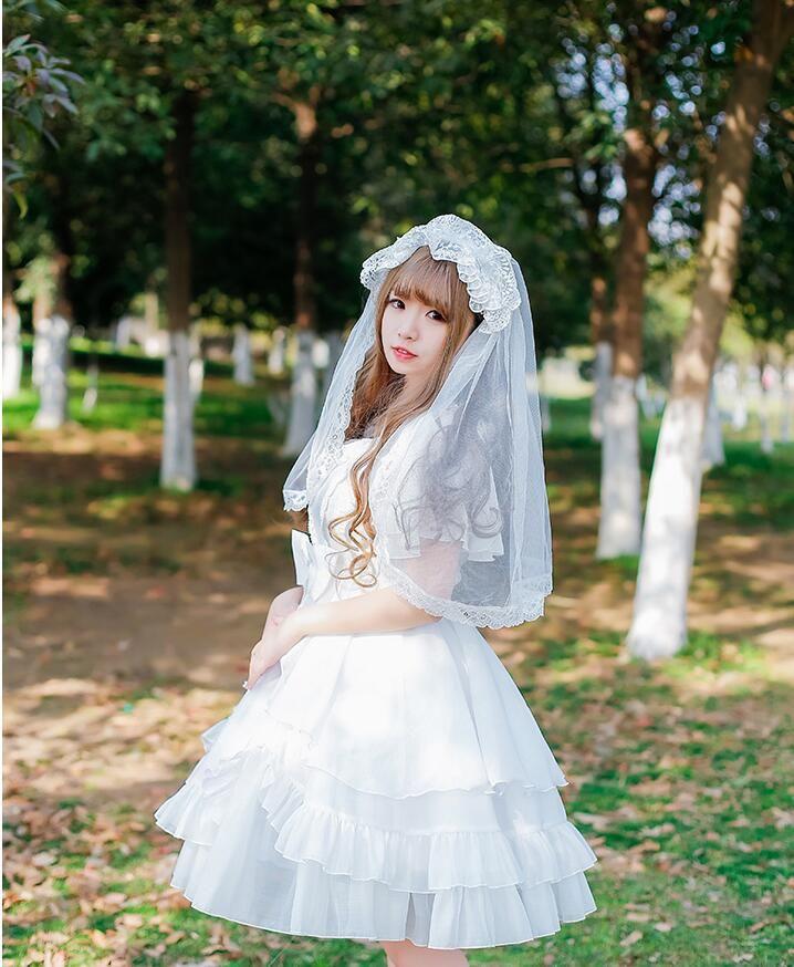 لوليتا زهرة الزفاف الحجاب متعدد الطبقات لوليتا غطاء الرأس اعتصامات الرياح سوبر الجنية القوطية الرجعية المعطف الصوف هيبورن