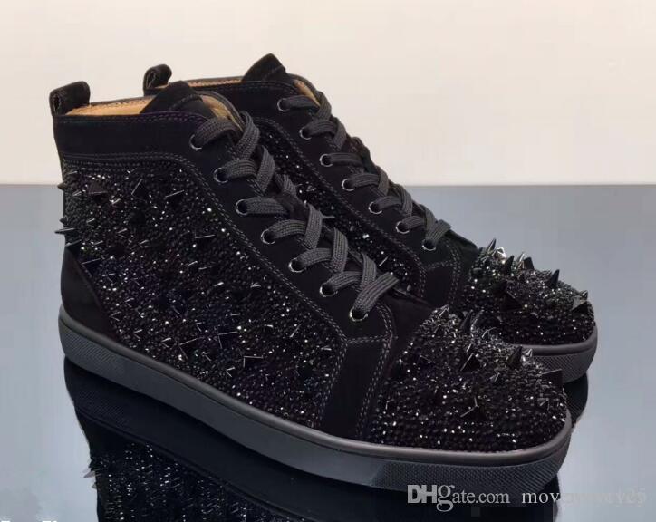 2018 New Black Fashion Designer Marque clouté Spikes Flats Red Shoes Chaussures Bas, pour les hommes et les femmes Party Lovers Sneakers en cuir véritable