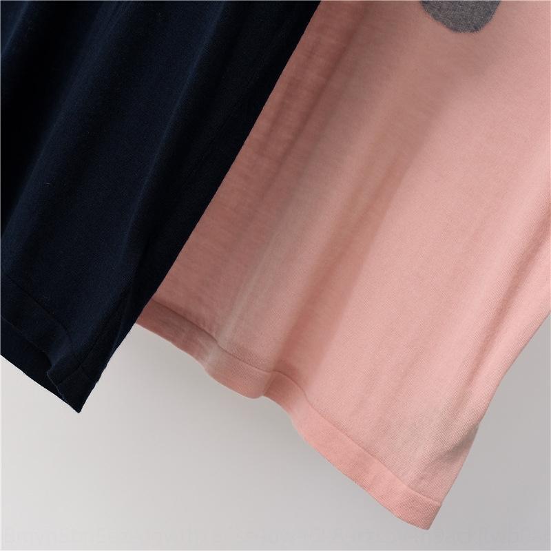 oG9ew rodada de lã fina t- jacquard Jacquardknitted de mangas curtas T-shirt sh mulheres primavera e no verão 2020 novo padrão macaco jacquard xPj0l nec