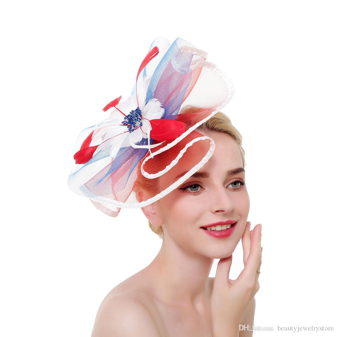Colorful Tulle Hats for Women Formal Party Hats Accessories Feathers Beaded Elegant Wedding Party Head Wear chapeau mariage