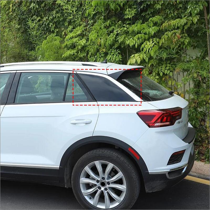 Kohlenstoff-Faser / Gloss Black Dekoration Auto-Aufkleber für VW VOLKSWAGEN T-ROC 2018 2019 Versteckte C Spalte Slot Car-Styling