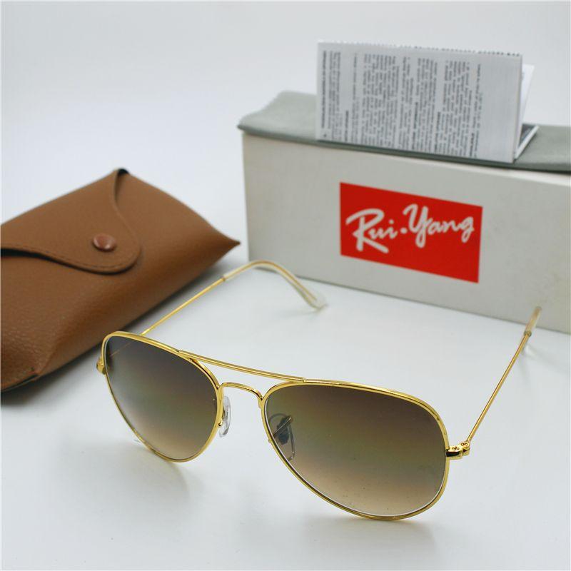 1pcs Hot Sale Mens Womens Pilot Gradient UV400 Sunglasses Designer Sun Glasses Gold Brown Blue Grey 62mm Glass Lenses Original Cases Box
