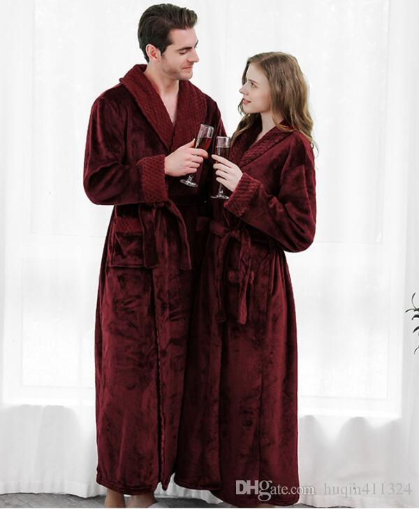 Autumn and winter flannel splicing Nightgown long plus size thickened men's and women's pajamas cross border spot bathrobe bathrobe