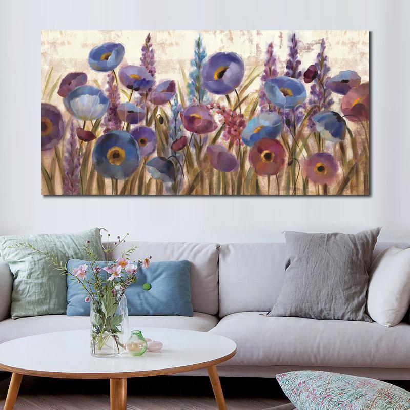 pinturas a óleo de flor abstrato Tremoços e papoilas Silvia Vassileva Paisagem arte para decoração de parede pintados à mão