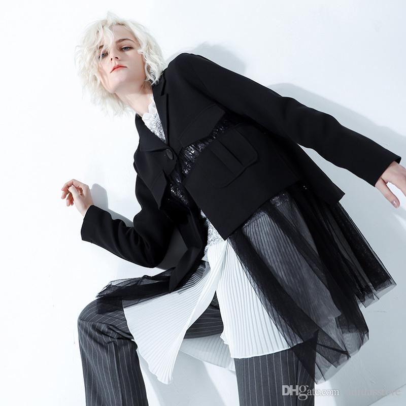Patchwork Mesh Blazer Mantel Weibliche Single Button Long Sleeve Perspektive Mäntel Frauen 2019 Frühling Lässige Kleidung