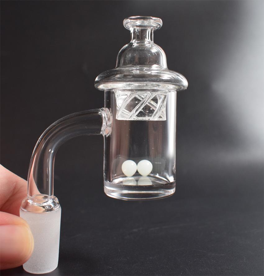 Calidad superior de 5 mm de espesor Borrar Bottom clavo de cuarzo Banger con el giro del casquillo carbohidratos y brillante Terp bola de la perla Para Bongs de cristal plataformas petrolíferas