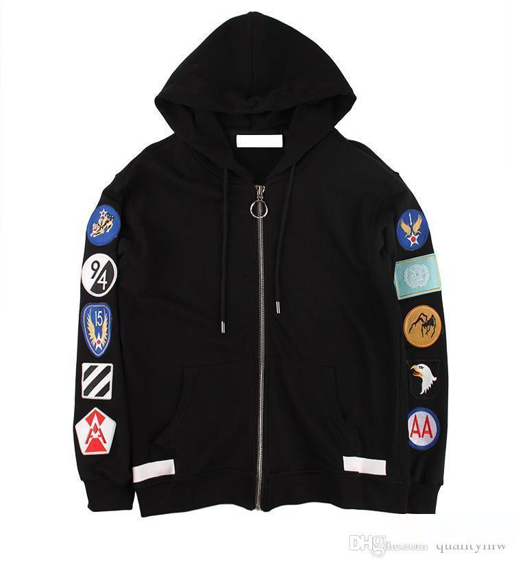 Mens designer luxury high quality hoodie jacket fashion street clothing armband patch embroidery zipper casual fleece men women Outerweear