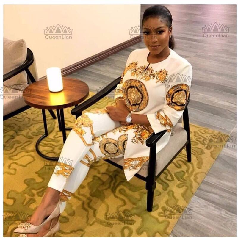 New African Print Elastic Bazin Baggy Pants Rock Style Dashiki Sleeve Famous Suit For Lady