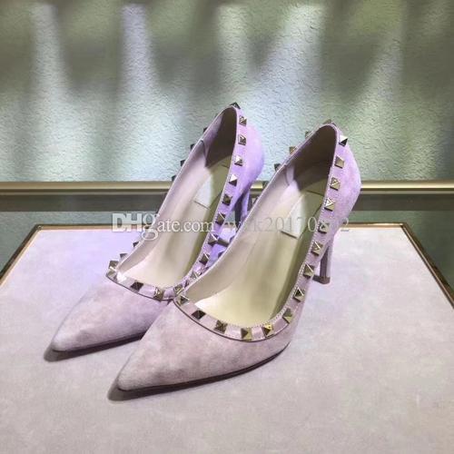 Kostenlose Lieferung Modedesigner der neuen Frauen-Niet-hohe Absätze, spitze lederne reizvolles Parteikleid hohe Absätze + Kasten, Größe 34-41