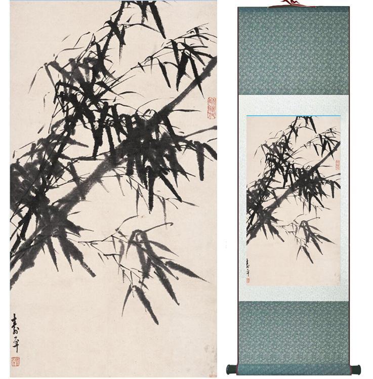 Pintura De Bambu Chiense Personagens E Flor Pintura Home Office Decoração Pintura De Rolagem Chinesa 041303