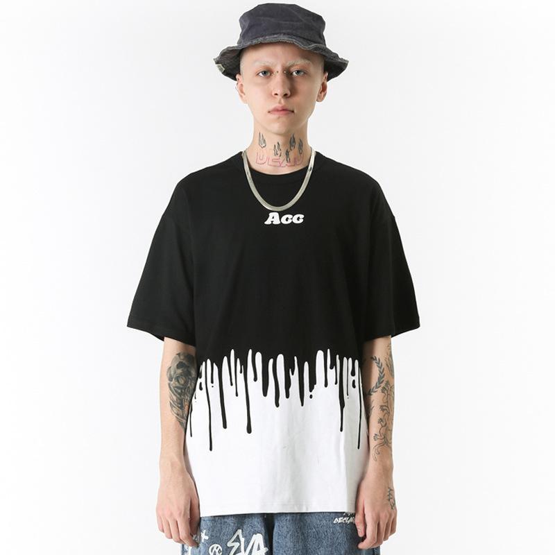 Летний короткий рукав футболки мужской летней европейской и американской высокой уличной моды бренд хип-хоп рыхлой Повседневный пять рукав сверху