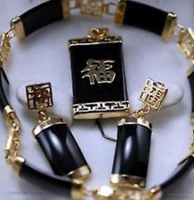 Colar de Jóias Finas reais 18KGP Moda Cubic Zirconia Trendy% Jóias preto jade pulseira pingente de colar de pingente