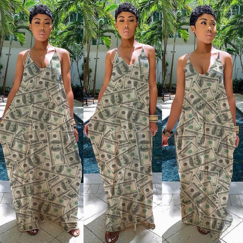 Falda del partido con paneles de ropa femenina dinero las mujeres Vestidos estampados de verano cuello en V Abkle de longitud vestidos de fiesta de la playa de moda